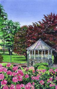 Gazebo and Rhododendrons